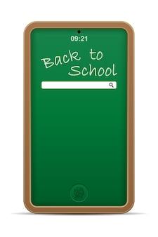 Illustrazione di vettore di concetto di istruzione online del telefono della lavagna della scuola isolata su fondo bianco Vettore Premium