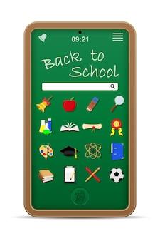 Illustrazione di vettore di concetto di istruzione online del telefono della lavagna della scuola isolata su fondo bianco