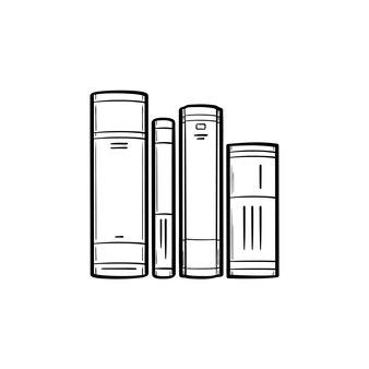 Libri scolastici sull'icona di doodle di contorni disegnati a mano di letteratura. illustrazione di schizzo vettoriale di tre libri di studio sulla letteratura per stampa, web, mobile e infografica isolato su priorità bassa bianca.