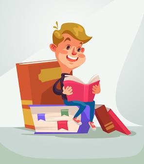 Libro di lettura del carattere del ragazzo di scuola
