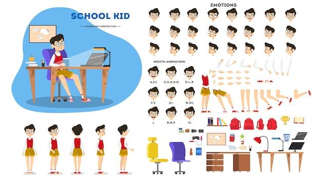Set di caratteri del ragazzo della scuola per l'animazione