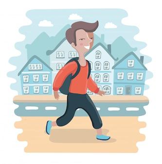 Ragazzo di scuola a piedi