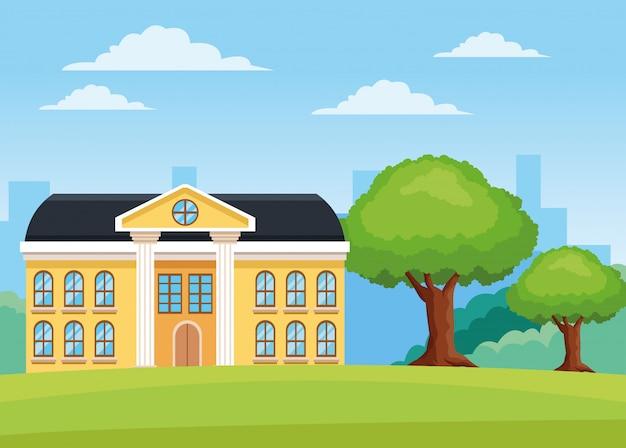 Facciata dell'edificio scolastico nella scena del campo