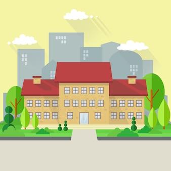 Edificio scolastico nell'illustrazione di stile piano