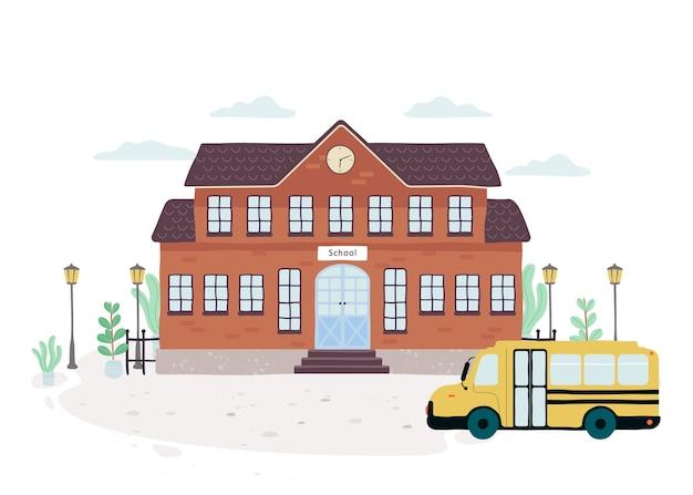 Vista frontale dell'edificio scolastico. idea di educazione e apprendimento