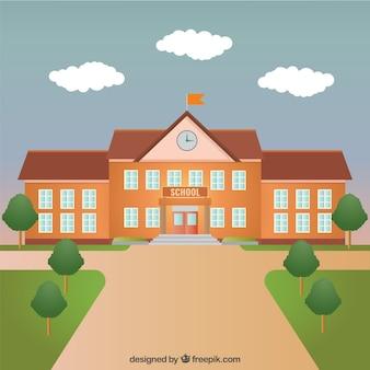 Edificio scolastico Vettore Premium