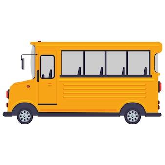Illustrazione del fumetto dello scuolabus isolato su uno sfondo bianco.