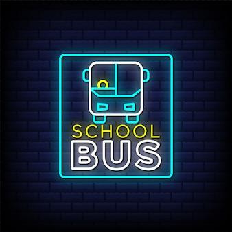 Progettazione dell'insegna del testo di stile dell'insegna al neon dello scuolabus con l'icona del bus