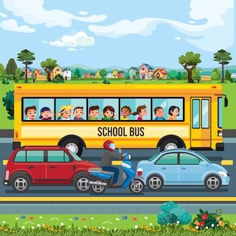 Scuolabus sull'illustrazione della strada