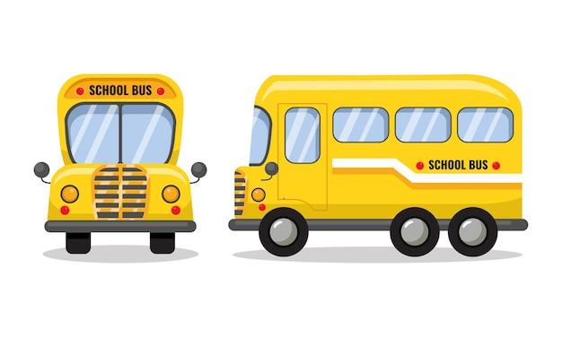 Vista laterale e frontale dello scuolabus design piatto vettoriale dei cartoni animati
