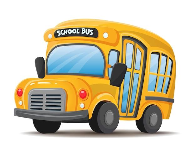 Scuolabus giallo vista frontale stile piatto vettoriale cartone animato isolato su sfondo bianco
