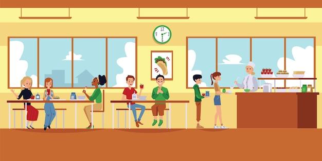 Interiore della mensa della scuola con i bambini del fumetto che mangiano cibo e signora del pranzo che versa la minestra con il mestolo per le persone in coda - scena moderna della mensa. illustrazione