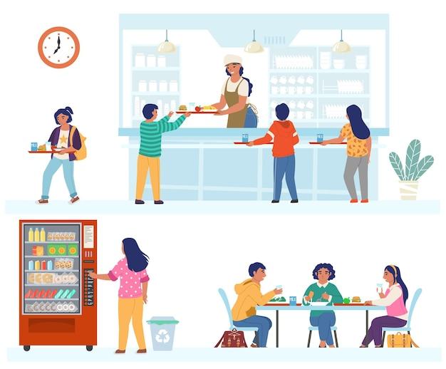 Mensa scolastica, caffetteria, set di scene di caffè, illustrazione isolata piatta. bambini felici a pranzo.