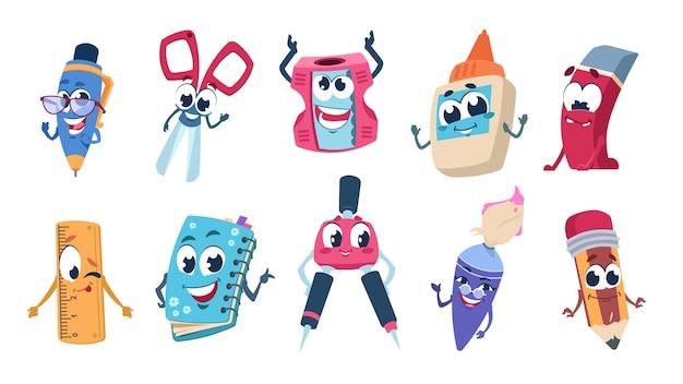 Personaggi dei cartoni animati della scuola. portamatite e mascotte educative di cancelleria con facce felici. materiale scolastico piatto divertente vettoriale impostato su sfondo bianco