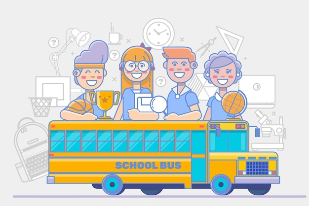 Attività per bambini delle scuole. poster di educazione lineare isolato su sfondo bianco. illustrazione vettoriale
