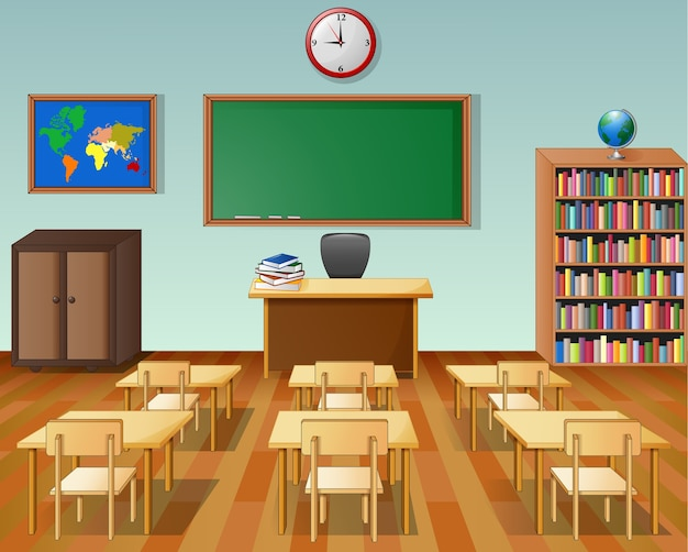 Interno di aula di scuola con lavagna e scrivania