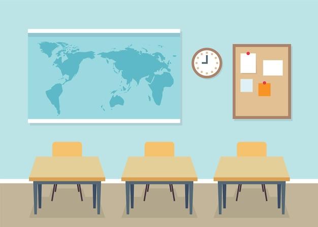Interno dell'aula scolastica con banchi, mappa dietro, concetto di ritorno a scuola. illustrazione vettoriale in stile piatto