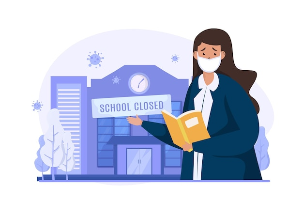 Scuola chiusa durante l'illustrazione della pandemia di covid19