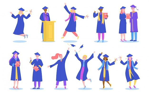 Gli studenti della laurea o della scuola hanno messo isolato sulle illustrazioni bianche.