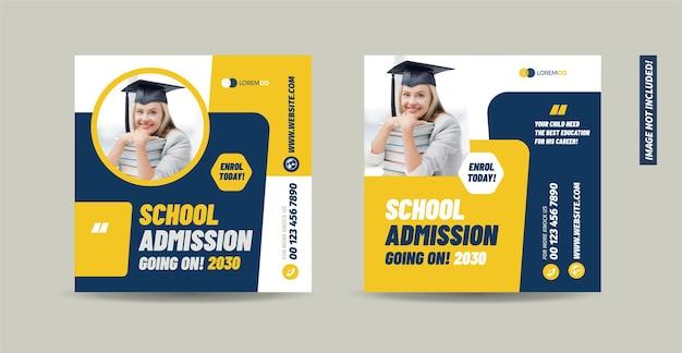 Ammissione all'università del college e ritorno a scuola sui social media post design