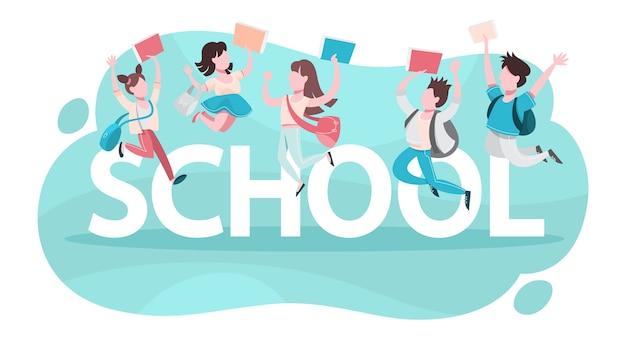 Concetto di scuola. i bambini studiano e ricevono un'istruzione