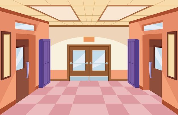 Illustrazione della scena del corridoio della scuola