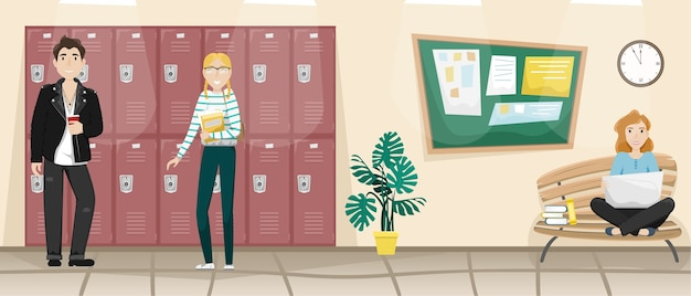 Corridoio della scuola con armadietti per libri e vestiti.