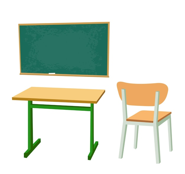 Banco di scuola, truciolato e una sedia. illustrazione di colore piatto vettoriale. isolato su sfondo bianco.
