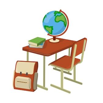 Scrittorio della scuola con l'illustrazione isometrica dei rifornimenti di scuola