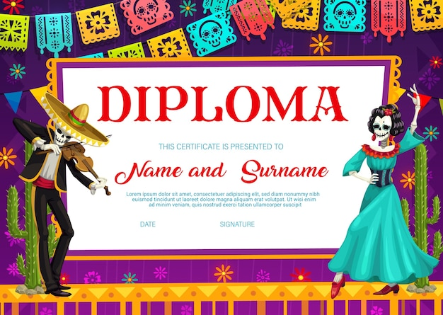 Modello di diploma scolastico con scheletro messicano del giorno dei morti che suona il violino