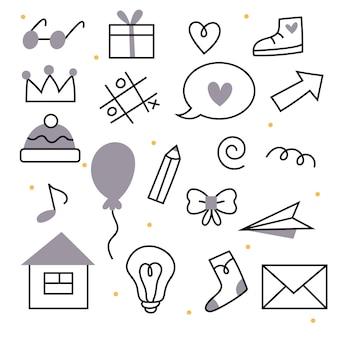 Scarabocchi scolastici in uno stile lineare icone educative studiano simboli matita regalo occhiali scarpe da ginnastica hea