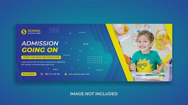 Promozione dell'ammissione all'istruzione scolastica social media modello di copertina di facebook e banner web
