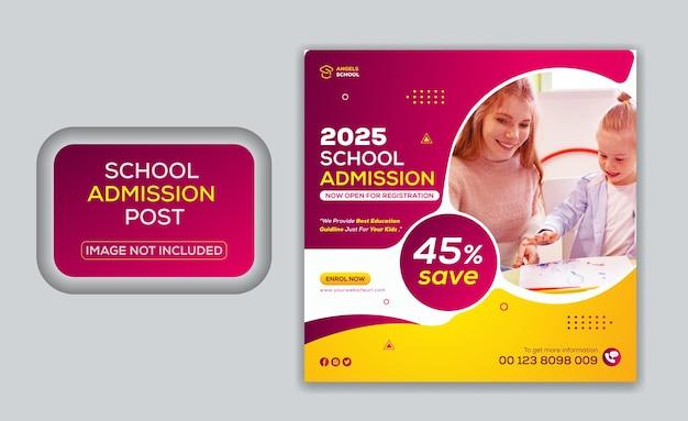 Post promozionale di ammissione all'istruzione scolastica sui social media e modello di banner web di instagram