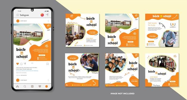Social media di ammissione all'istruzione scolastica post e ritorno a modello di banner web di scuola o volantino quadrato