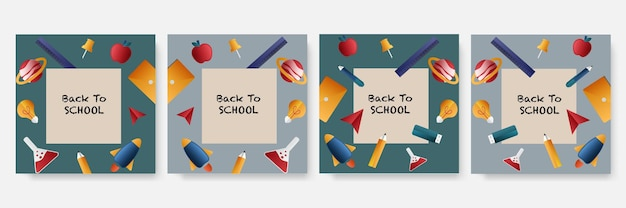Post di social media di ammissione all'istruzione scolastica e modello di banner web di ritorno a scuola
