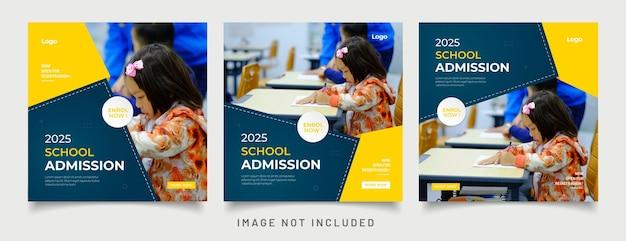 Post di social media di ammissione all'istruzione scolastica e modello di banner web