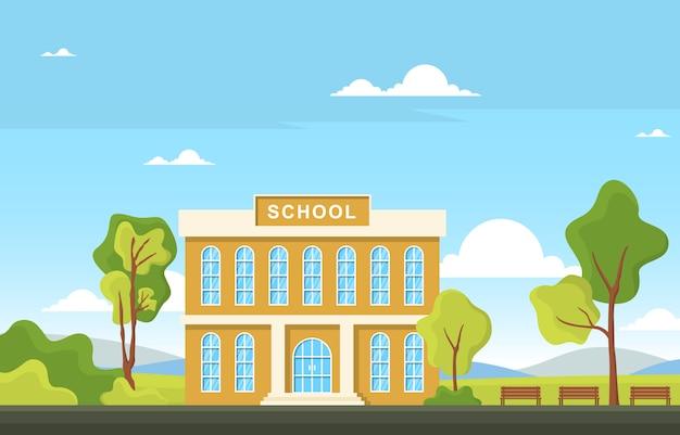 Illustrazione all'aperto del fumetto del paesaggio della via dell'edificio per l'educazione scolastica