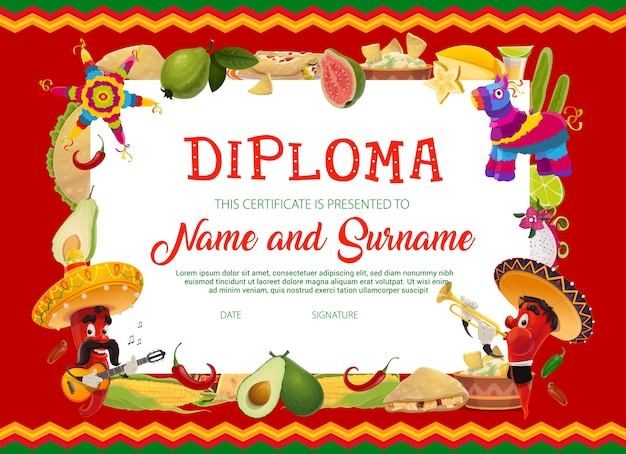 Modello di diploma di istruzione scolastica con peperoncini di cartone animato cinco de mayo vacanze in sombrero che suona la chitarra e la tromba, frutta, mais, cibo messicano e pinata. certificato scolastico o cornice