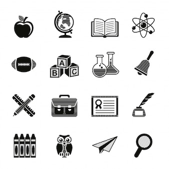 Set di icone di educazione scolastica.