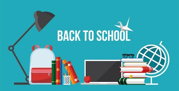 Oggetti e oggetti per la scuola e l'istruzione sul posto di lavoro. torna al banner concetto di scuola. illustrazione piatta di materiale scolastico. insieme degli accessori isolati di istruzione su fondo blu.