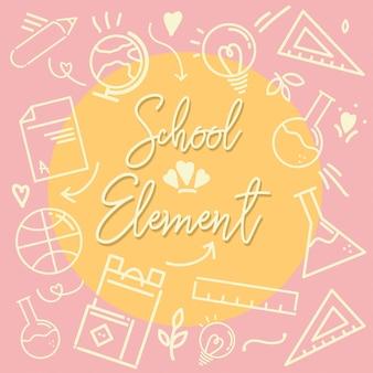 Icona di scuola element outline rosa