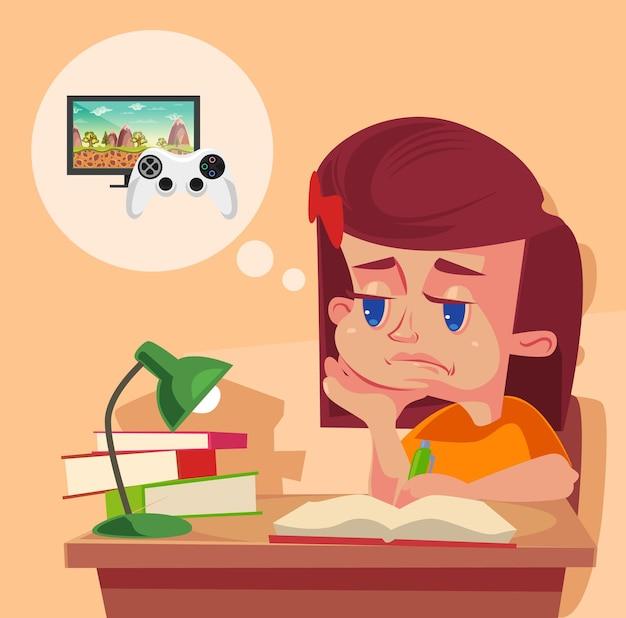 Il carattere del bambino della ragazza della scuola non vuole fare i compiti. cartone animato