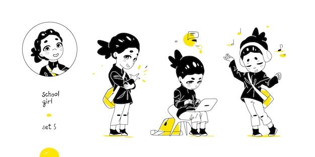 School girl impostato con diverse pose