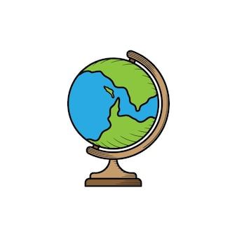 Illustrazione disegnata a mano dell'icona del globo della scuola isolata