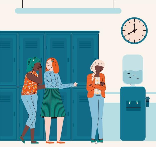 Corridoio della scuola con ragazze adolescenti bullismo altra ragazza, illustrazione piatta.