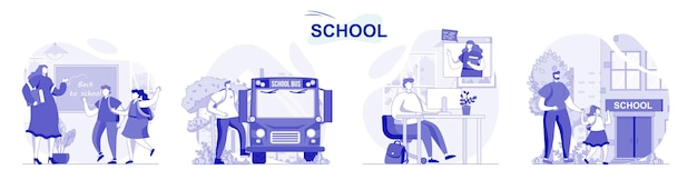 Insieme isolato della scuola in design piatto le persone ottengono l'istruzione degli alunni e degli studenti che imparano