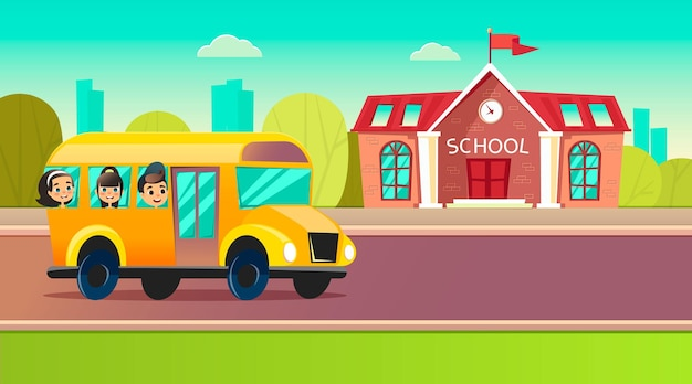I bambini delle scuole in sella a uno scuolabus