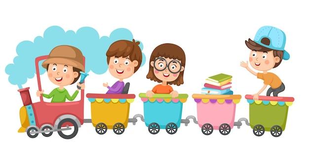 Bambini delle scuole che guidano il trasporto in treno