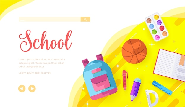 Modello di pagina di destinazione della scuola. materie universitarie banner web spazio di testo. homepage del sito web dell'università.