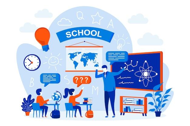 Concetto di web design di apprendimento scolastico con personaggi di persone
